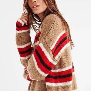 Urban Outfitters Tan Red Striped Mock Neck Sweater